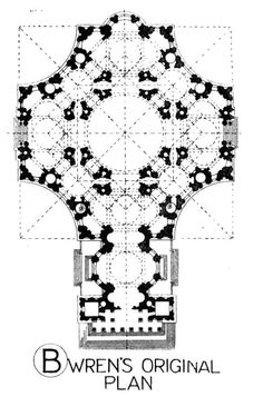 St. Pauls Cathedral-The original floor plan designed by Sir Christopher Wren, which was not realized.