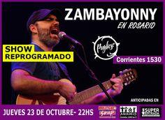SHOW REPROGRAMADO ► Zambayonny en #Rosario VIERNES 26 de SEPTIEMBRE Pugliese Bar (Corrientes 1530) 22hs  Evento: https://www.facebook.com/events/544582705667986/?fref=ts