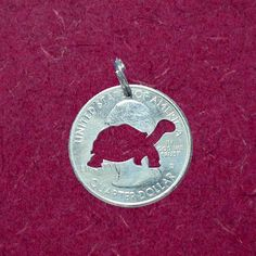 Turtle Pendant, Turtle Necklace, Turtle Keychain, Turtle Jewelry, Your Choice, Cut Coin