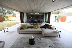 Bringing the outdoors in. Hunters Hill Textural design from Grand Design Australia Grand Designs Tv Show, Grand Designs Houses, My Home Design, New Home Designs, Modern House Design, Living Area, Living Spaces, Living Room, Grand Designs Australia