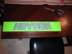 Minecraft Font painted on 2x4 for Little boy's room!