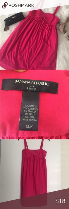 Like NEW 🌸 Pink Tank Dress with Pockets Banana Republic Like New Dress w Pockets! 00 Petite! Banana Republic Dresses Midi