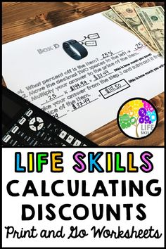 Practice learning how to calculate discounts using this step-by-step worksheet. Excellent for life skills instruction in the classroom. Life Skills Lessons, Life Skills Activities, Life Skills Classroom, Teaching Life Skills, Teaching Tools, Learning Activities, Life Skills Kids, Consumer Math, Teaching Money