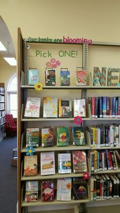 Spring book display-Adult Our books are blooming.Pick one! Library Book Displays, Library Books, Library Ideas, Library Bulletin Boards, Bulletin Board Display, Spring Books, Teacher Librarian, Book Projects, Pick One