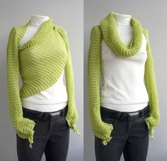 Love the pistachio green.  I am getting inspired to possibly do this from a long strip of jersey knit or a pashmina shawl, sewing the arms on the ends.