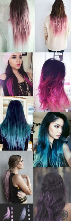 A selection of Dark Black / Brown to Pastel Ombre Hair Color Trends 2015 #Hairstyle...x