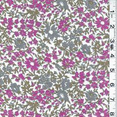 "12454 Denver Fabrics Tan Fuschia Floral Lawn 57"" wide/ 'Ecru' floral lawn"
