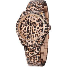 So&co New York Women's SoHo Quartz Stainless Steel Animal Print... ($70) ❤ liked on Polyvore featuring jewelry, watches, multi, analog watches, crown jewelry, quartz jewelry, dial watches and stainless steel bracelet watch