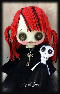 #Creepy cute goth cloth #doll Giuditta handmade rag doll with red hair little #skeleton doll. Goth rag doll. Goth cloth doll. Emo doll by AresCrea on Etsy