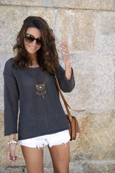 White Shorts & Navy Sweater