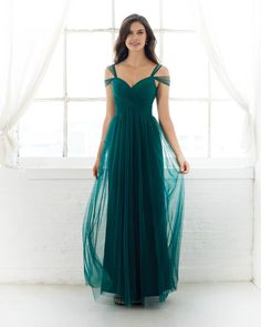 Colour #5330L - Floor length. Tulle a-line bridesmaid dress with a sweetheart neckline and cold shoulder straps. Shown in Forest Green.