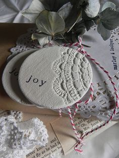 Vintage Doily Joy Ornament.....with salt dough and blue paint for the kitchen!  Excellent!!