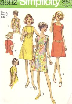 1970s Misses  ALine Dress with Three Necklines