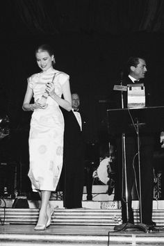 Grace Kelly at the Foreign Press Awards (later named the Golden Globes Awards).  She won the World's Film Favorite Actor (Female), February 1956.