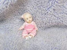 Miniature handmade MINI BABY GIRL TODDLER ooak SCULPTED ART DOLL HOUSE ARTISAN