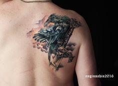 raven tattoo - kuzgun dövmesi - engin şahin