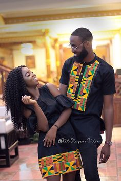 Kente and black couple wear for all events.Quality and unique wear Couples African Outfits, African Dresses Men, African Fashion Ankara, Latest African Fashion Dresses, Couple Outfits, African Print Fashion, Africa Fashion, African Attire, African Wear Styles For Men