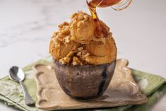 Even when there is an autumn chill in the air, you can still enjoy ice cream. This spiced pumpkin ice cream is filled with fall flavor.
