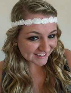 White Shabby Chic Chiffon Flower No Slip Sweaty Band Athletic Headband Headwrap In Newborn, Baby, Toddler, Child, Kid, Teen, & Adult Sizes! No Slip Headache Free Headbands are Perfect for Team Sports, Cheer, Vollyeball, Running, Yoga, Basketball, Matching Mother Daughter Sister Twin Friend Matching Family Photos, Photo Props, Sorority Bid Day Gifts, Big Little Gifts, Rush, Wedding Bridal Shower, Flower Girl, Bridesmaid, New Baby Gifts, Baby Shower Gifts,& Birthday Gifts by petesboutique