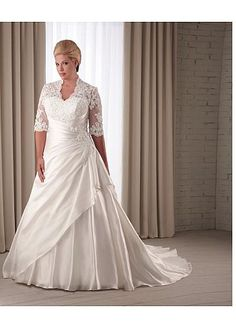 NOUVEAU! Stunning Taffeta & Satin Queen Anne Neckline Natural Waistline A-line Plus Size Wedding Dress