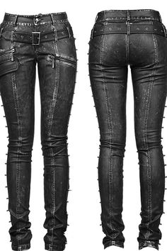 Punk Rave Skinchanger Trousers, Steampunk Pirate Leather Look Jeans K-170 - Click to enlarge