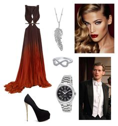 """Miss Mystic Falls with Klaus!! "" by rockyblues2371 on Polyvore featuring Roberto Cavalli, Giuseppe Zanotti, Charlotte Tilbury, Penny Preville and OMEGA"