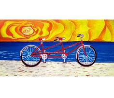Tandem Bicycle Built for Two Painting, Valentine's Day Gift.