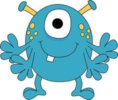 monster clipart for kids | Four Arm Monster Clip Art Image - blue monster with four arms, yellow ...