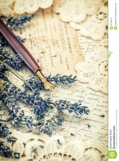 Vintage Ink Pen, Dried Lavender Flowers And Old Love Letters Stock Photo - Image: 45758473