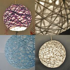 Woven String Pendant Lamp  •  Free tutorial with pictures on how to make a lamp / lampshade in under 120 minutes