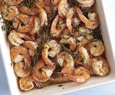 Roasted Shrimp with Rosemary & Thyme             This hands-off dish delivers amazing flavor for very little effort; Roasted in an herb-infused oil, the shrimp turn golden-pink, tender and fragrant in just 10 minutes.    view recipe  next   Steamed Mussels with Chorizo, Smoked Paprika & Garlicky Croutons