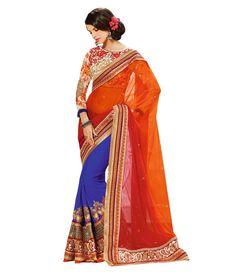 Palash Zemi Designer Half Orange Net Ethnic Party Wear Saree With Blouse Piece, http://www.snapdeal.com/product/palash-zemi-designer-half-orange/11565625