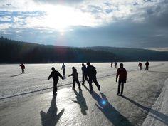 Ice skating on the worlds largest ice track. Lipno, South Bohemia Czech Republic. #CzechTourism