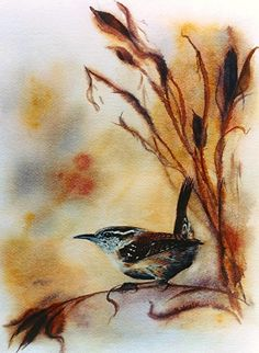 Wren and Iris Pods by Kimberly Wurster Watercolor ~ 11 x 8