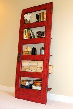 Industry Red Door Bookshelf by TheDoorShelfFactory on Etsy, $450.00