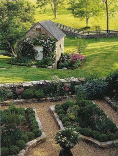 Beautiful Flowers & Gardens. This would be my dream layout for vegetable and cutting gardens! The garden shed is adorable. #french_herb_garden