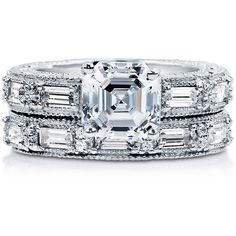 BERRICLE Sterling Silver Asscher CZ Solitaire Art Deco Engagement... (680 CNY) ❤ liked on Polyvore featuring jewelry, rings, 2 piece ring set, clear, sterling silver, women's accessories, sterling silver cubic zirconia rings, solitaire engagement rings, asscher cut engagement rings and engagement rings