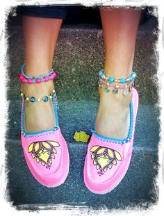 636b8812aa96 size 6.5 LOTUS Canvas SHOES Neon PINK Espadrilles Slip on shoe Flats Lotus  Hand painted shoes