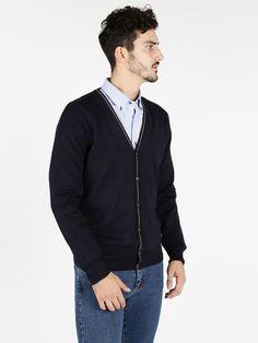 Cardigan in maglia con bottoni - blu scuro bb63437d805