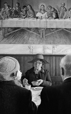 Martin Parr, West Yorkshire. Calderdale. Halifax. Steep Lane Baptist Chapel buffet lunch. 1976.