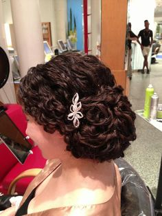 Curly hair updo Mia at Deva chan. Naturally curly. Deva Chan @ Broome St in NYC Best upDos Ever!