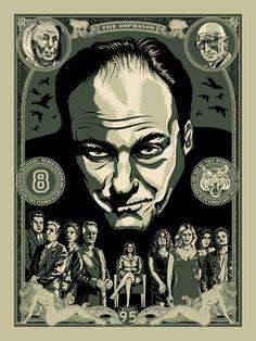 """The Sopranos"" poster for Bottle Neck Gallery by Greg Bunbury, via Behance"