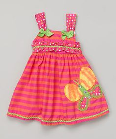 Look at this #zulilyfind! Pink Stripe Butterfly Dress - Infant, Toddler & Girls by Young Hearts #zulilyfinds