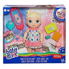 Baby Alive Blonde Cute Hairstyles Baby by Hasbro Baby Doll Nursery, Baby Girl Toys, Toys For Girls, American Girl Storage, American Girl Doll Room, Real Life Baby Dolls, Baby Alive Dolls, Best Baby Doll, Doll Food