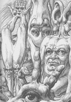 Virgil Finlay A Planet Named Shayol Galaxy Magazine October 1961 Bizarre Art, Creepy Art, Weird Art, Art Illustration Vintage, Gravure Illustration, Arte Horror, Horror Art, Dark Fantasy Art, Dark Art