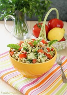 greek style tabbouleh-sub. barley or quinoa for the cracked wheat or bulgur*************