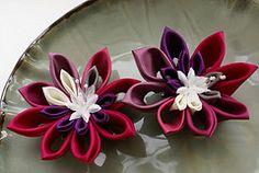 Cerise to violet ombre kanzashi