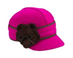 Petal Pusher Cap (in Raspberry & Chocolate) (Stormy Kromer) (23-25 oz. 80% wool / 20% nylon.100% cotton lining. Made in the USA with globally sourced materials. Dry clean only.)