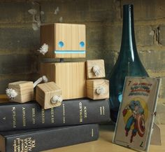 Block Bot - William Dohman: Wooden toy made from recycled wood from construction sites and torn down old buildings.