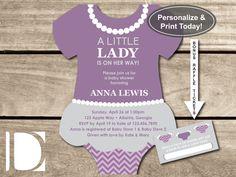 little lady baby shower invitation onesie invite pearls skirt tutu purple